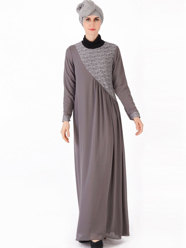 Nazraana Plus Size Lace Slanted Abaya Jubah Long Sleeve Maxi Dress