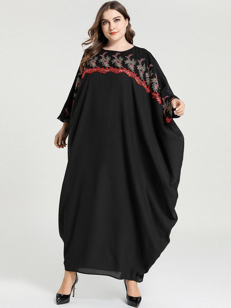 Nadesh Plus Size Floral  Embroidery Black Batwing Kaftan  Look Long Sleeve Maxi Dress  Abaya - Plus Size Hijab Muslim Fashion Abaya Jubah Dresses Singapore Malaysia Brunei Online