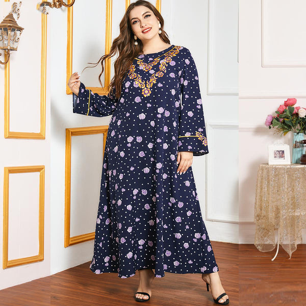 Qamayr Plus Size Blue Floral Embroidery Abaya