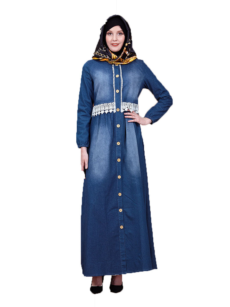 Kharqa Plus Size Abaya Jubah Muslim Lace Waist Denim Long Sleeve Maxi Dress - Plus Size Hijab Muslim Fashion Abaya Jubah Dresses Singapore Malaysia Brunei Online