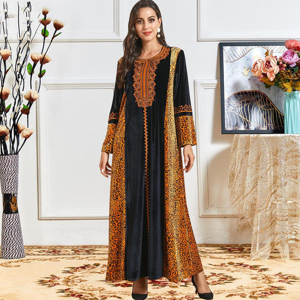 Nuwayla Plus Size Tribal Royal Velvet Occasion Muslimah Dress