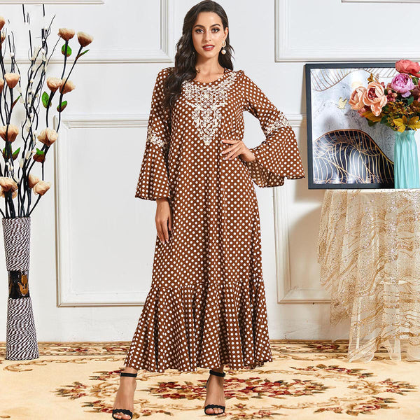 Raima Plus Size Brown Polka Dots Abaya
