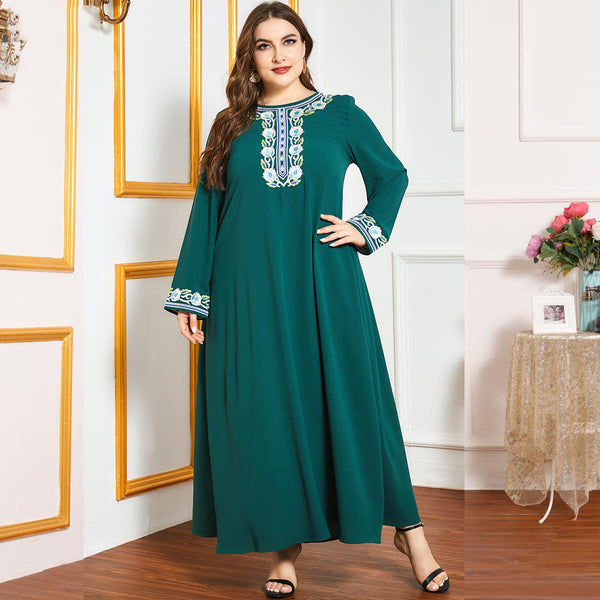 Qameer Plus Size Green Embroidery Abaya
