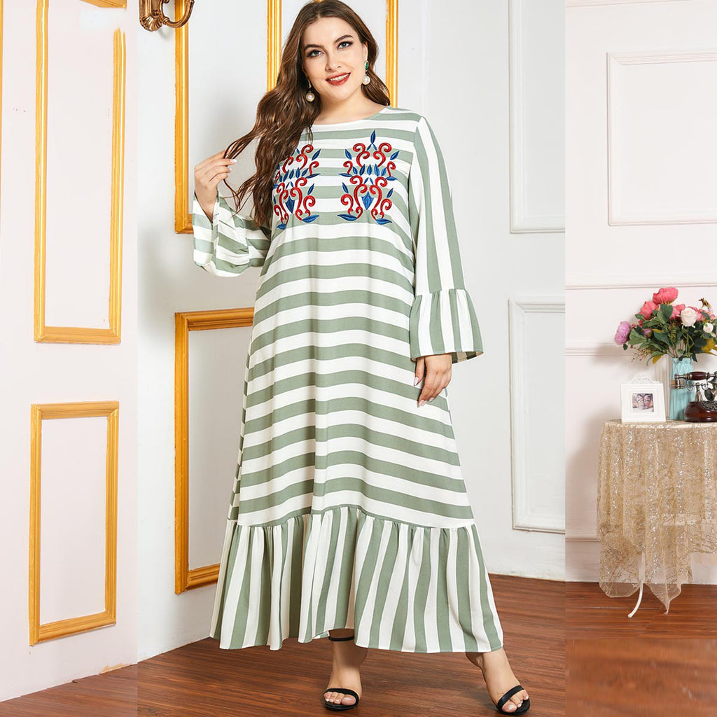 Nudbah Plus Size Stripes Embroidery Abaya Muslimah Dress
