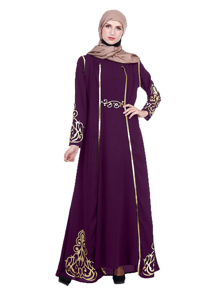 (2 Piece) Khatera Plus Size Abaya Jubah Muslim Evening Dress Gold Long Sleeve Maxi Dress and Gold Jacket Sleeveless Maxi Dress Set (Purple, Black, Green) - Plus Size Hijab Muslim Fashion Abaya Jubah Dresses Singapore Malaysia Brunei Online