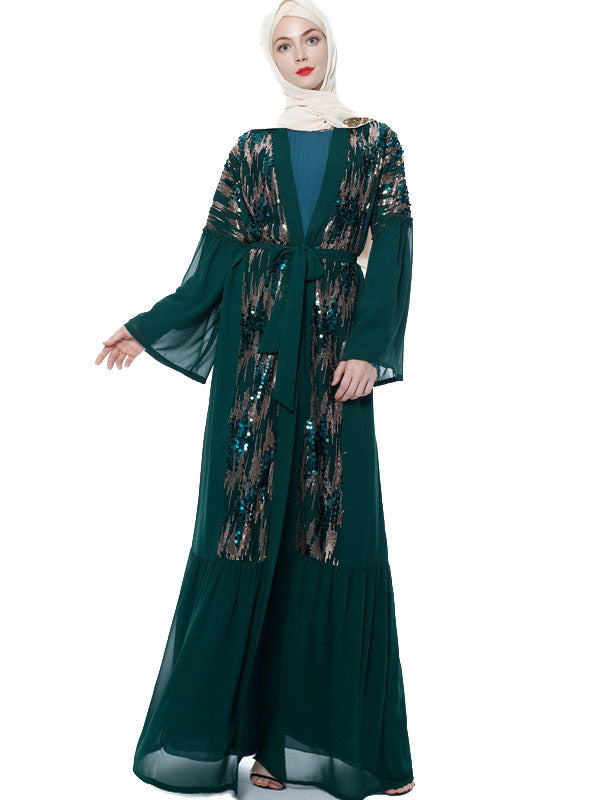 Murdiyyah Plus Size Open Abaya Sequins Long Sleeve Maxi Dress / Jacket (Green, Black) - Plus Size Hijab Muslim Fashion Abaya Jubah Dresses Singapore Malaysia Brunei Online