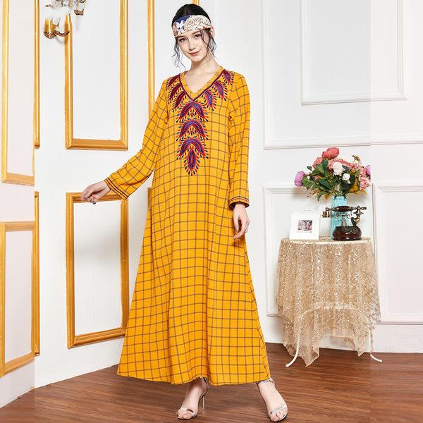 Qutayyah Plus Size Yellow Checked Embroidered Muslimah Dress