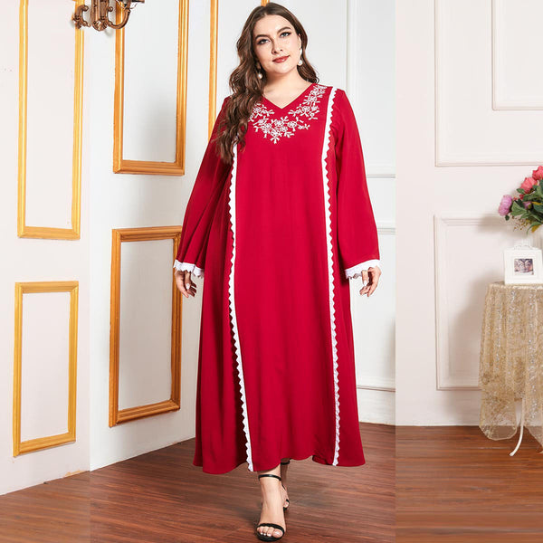 Qaniah Plus Size Red Embroidery Lace Abaya