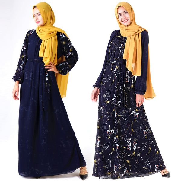 Neelam Plus Size Abaya 2 Way Wear Blue Floral Long Sleeve Maxi Dress