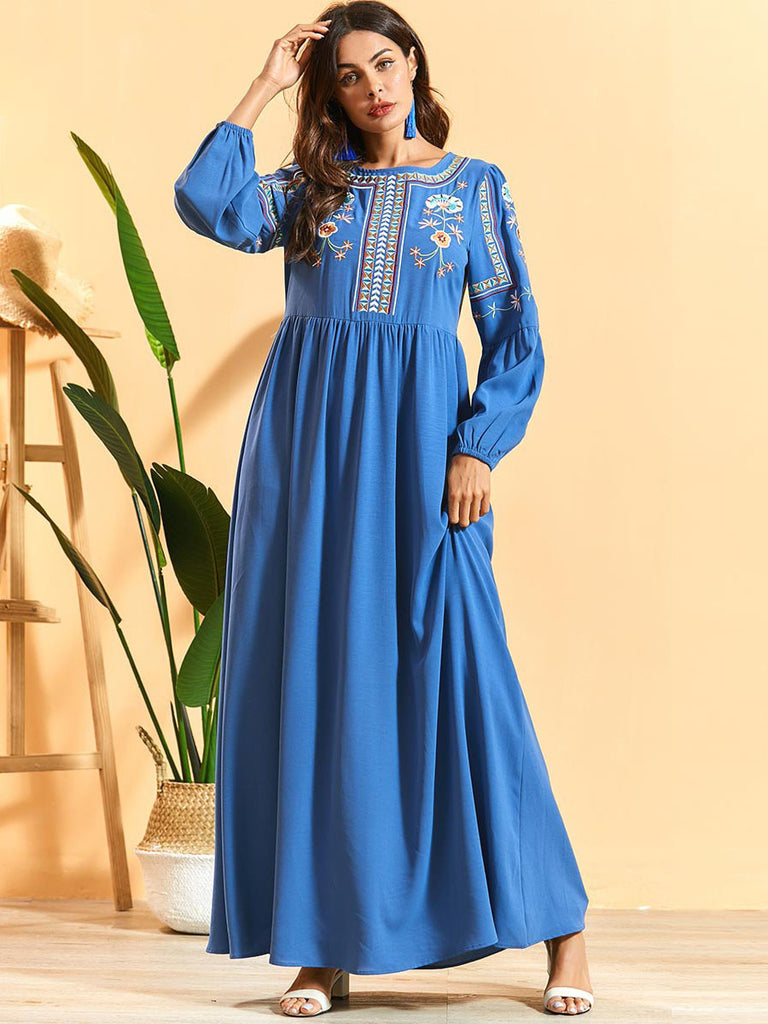 Nawwal Plus Size Abaya Bohemian Ethnic Embroidery Long Sleeve Maxi Dress (Blue)