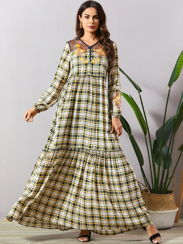 Sabeen Tartan Plaid Embroidered Abaya
