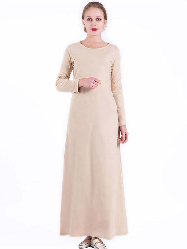 Neelofer Plus Size Basic Abaya Long Sleeve Maxi Dress (Black, Beige, White, Pink, Blue, Maroon Red, Dark Green)