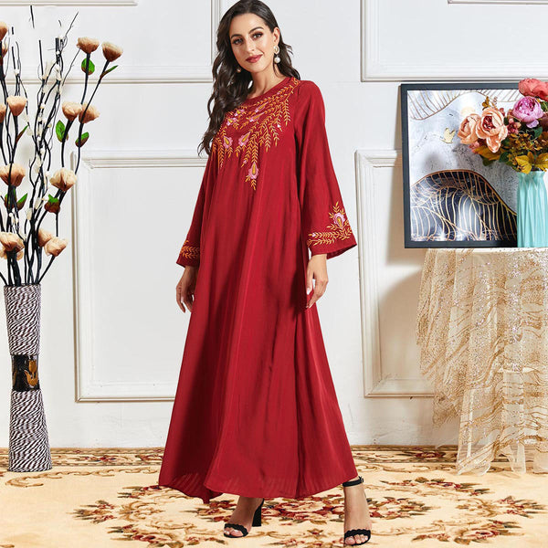 Nuzhat Plus Size Red Embroidered Abaya