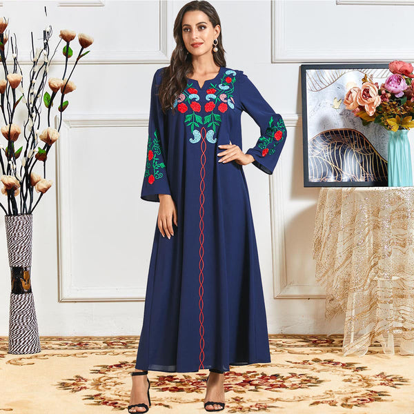 Raitah Plus Size Modern Blue Embroidery Abaya