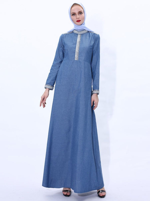 Nargis Plus Size Abaya In Denim With Intricate  Embellishments And High Neck