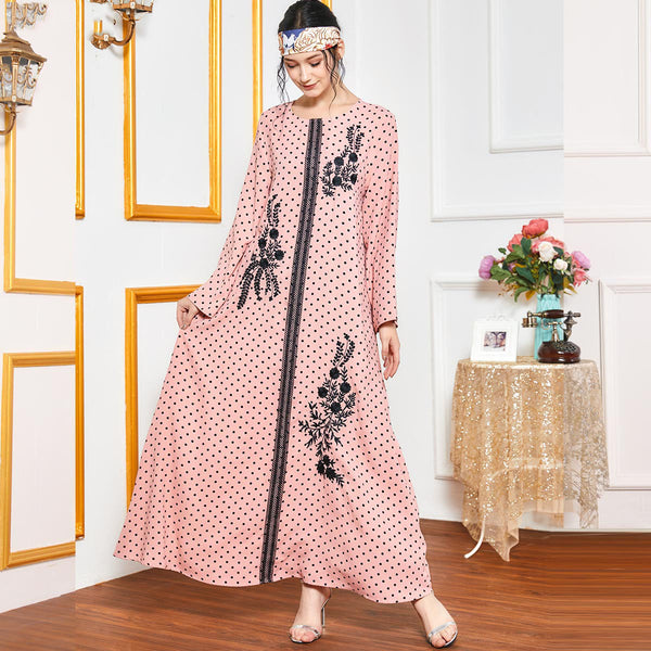 Raameen Plus Size Pink Polka Dots Embroidered Abaya