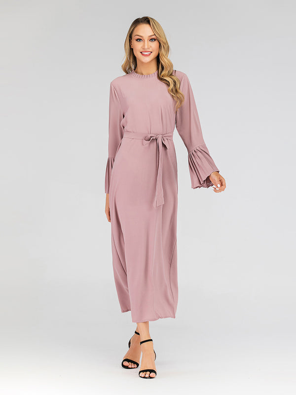 Hayah Pleat High Neck Bell Sleeve Waist Tie L/S Maxi Dress (Pink, Black)