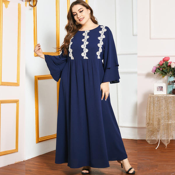 Qarasafahl Plus Size Blue Lace Tier Sleeve Abaya