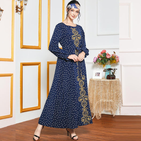 Rabab Plus Size Gold Embroidery Blue Polka Dots Muslimah Dress
