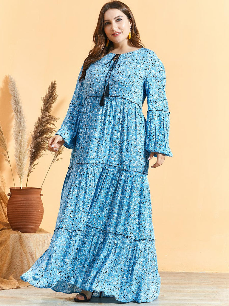 Rabail Plus Size Blue Floral Balloon Sleeve Abaya