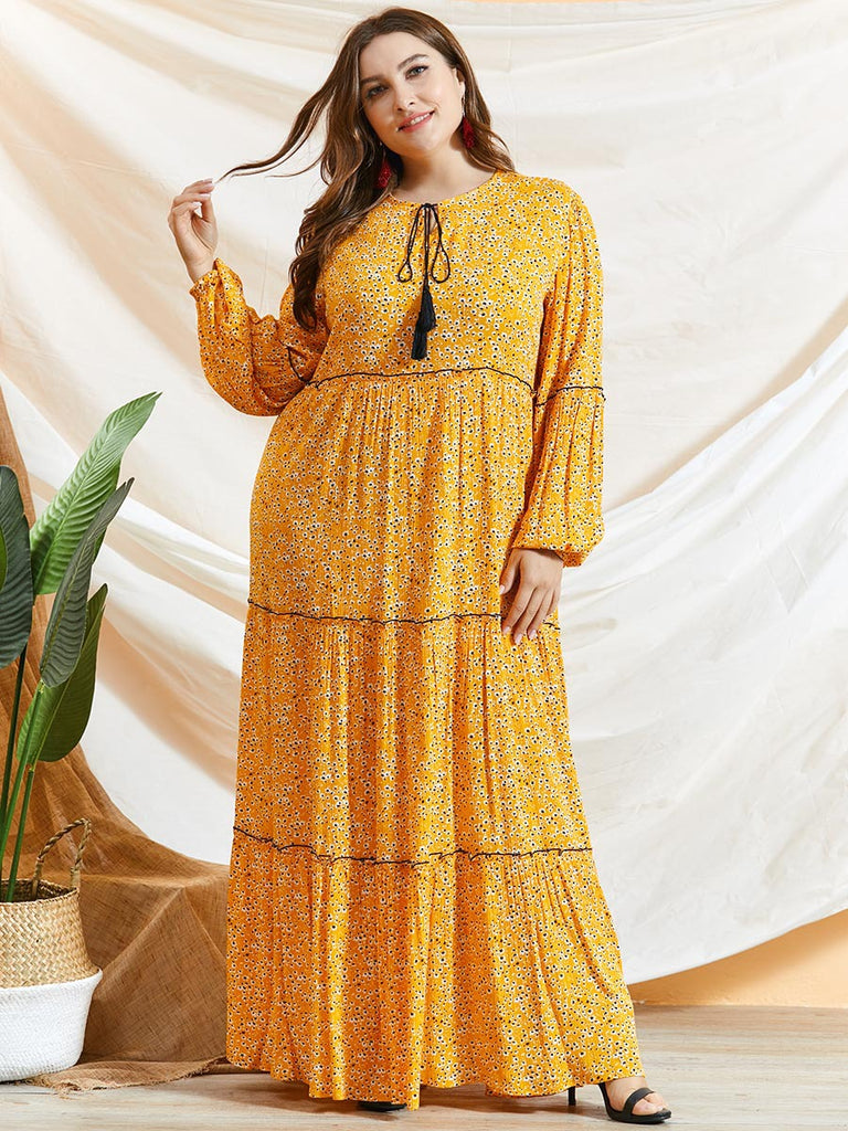 Rabbiya Plus Size Yellow Floral Balloon Sleeve Abaya