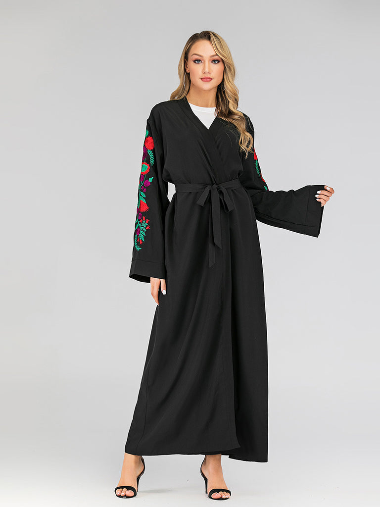 Hawwa Floral Embroidery Sleeve V Neck Kimono Wrap Waist Tie L/S Maxi Jacket / L/S Maxi Dress (Black, White) - Plus Size Hijab Muslim Fashion Abaya Jubah Dresses Singapore Malaysia Brunei Online