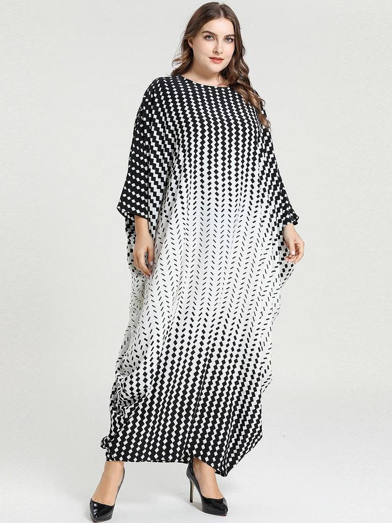 Nadiyah Plus Size Geometric  Monochrome Knit Batwing Kaftan  Look Long Sleeve Maxi Dress  Abaya - Plus Size Hijab Muslim Fashion Abaya Jubah Dresses Singapore Malaysia Brunei Online