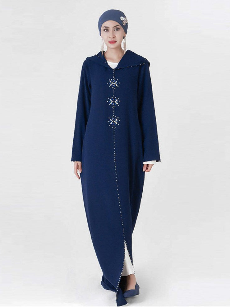 plus size embellished snood hoodie abaya blue