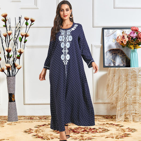 Rameen Plus Size Blue Hearts Embroidery Abaya