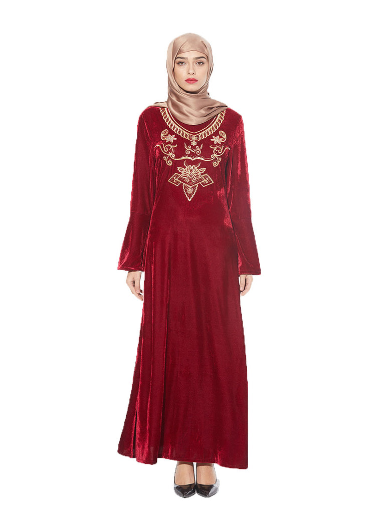Khayrah Plus Size Abaya Jubah Muslim Evening Dress Red Velvet Gold Embroidery Bell Sleeve Long - Plus Size Hijab Muslim Fashion Abaya Jubah Dresses Singapore Malaysia Brunei Online