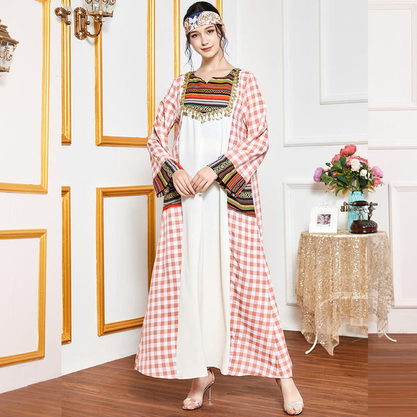 Rabail Plus Size Checked Ethnic Kaftan Abaya