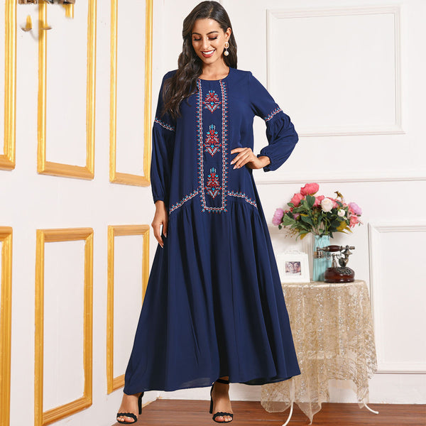 Nyla Plus Size Blue Embroidered Abaya