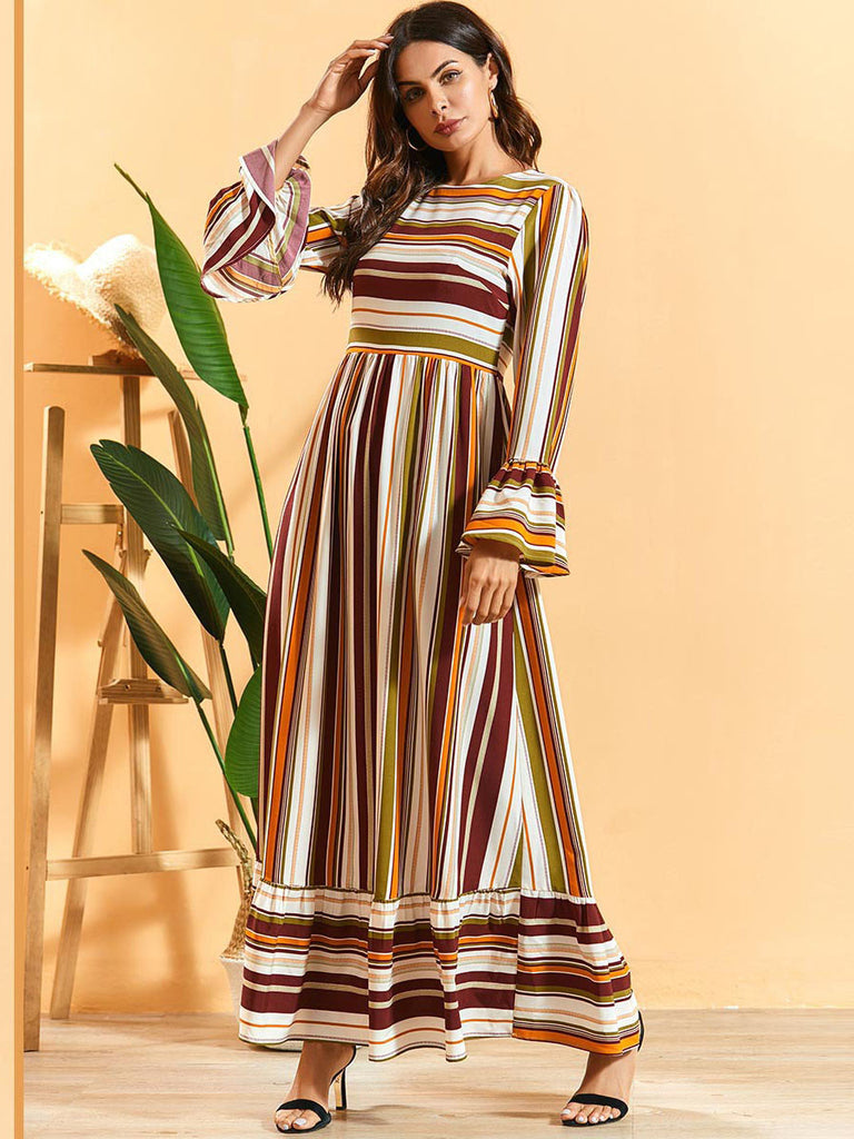 Nayyirah Plus Size Brown Stripes Bell Sleeve Long Sleeve Maxi Dress