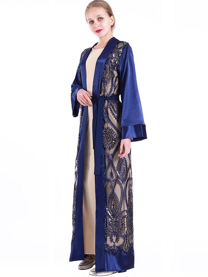 Neha Plus Size Sateen Royal Blue Sequins Embroidery Kimono Jacket