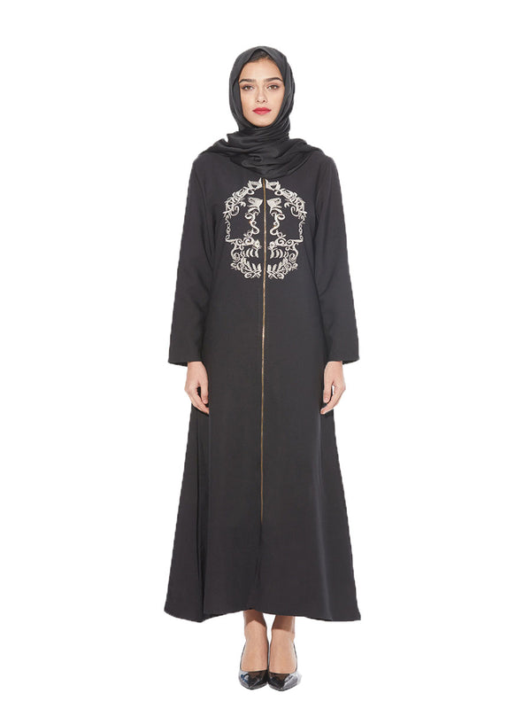 Khayriyah Plus Size Abaya Jubah Muslim Dress Black Embroidery Zipper Long Sleeve Maxi Dress - Plus Size Hijab Muslim Fashion Abaya Jubah Dresses Singapore Malaysia Brunei Online