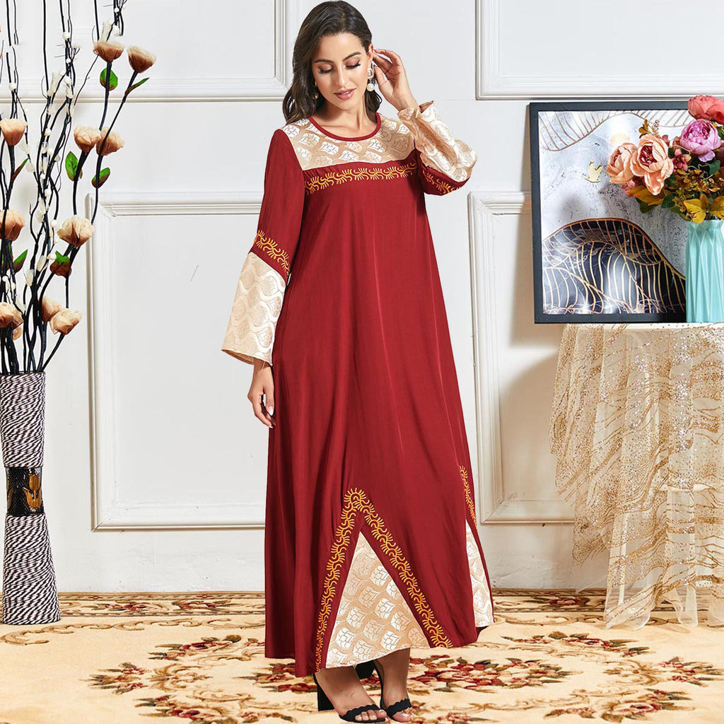 Ojala Plus Size Middle Eastern Red Embroidered Abaya