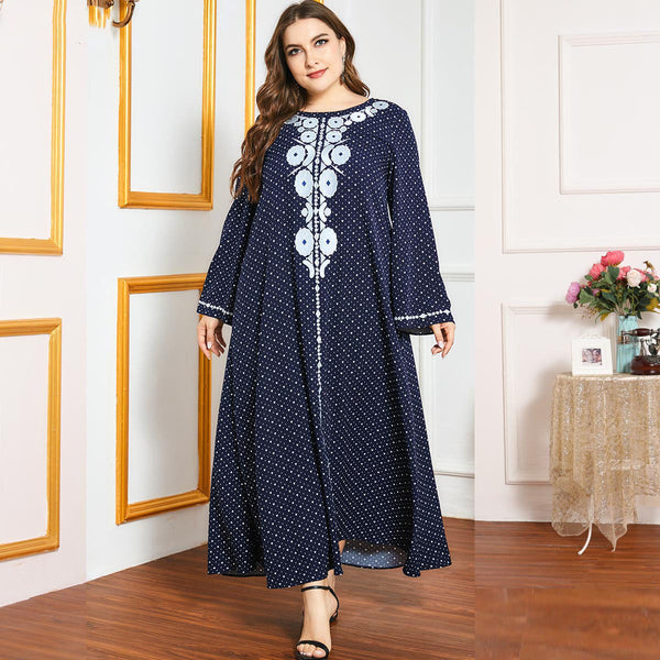 Qaylah Plus Size Navy Hearts Embroidery Abaya