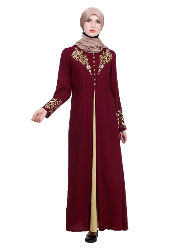 Khayriyyah Plus Size Abaya Jubah Muslim Evening Wedding Dress Gold Sequin Buttons Pleat Long Sleeve Maxi Dress (Red, Green, Blue, Black) - Plus Size Hijab Muslim Fashion Abaya Jubah Dresses Singapore Malaysia Brunei Online