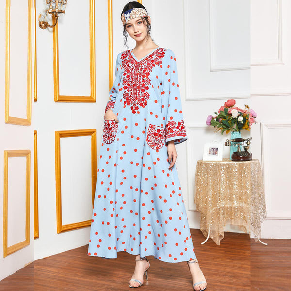 Rabeea Plus Size Red Polka Dots Blue Abaya