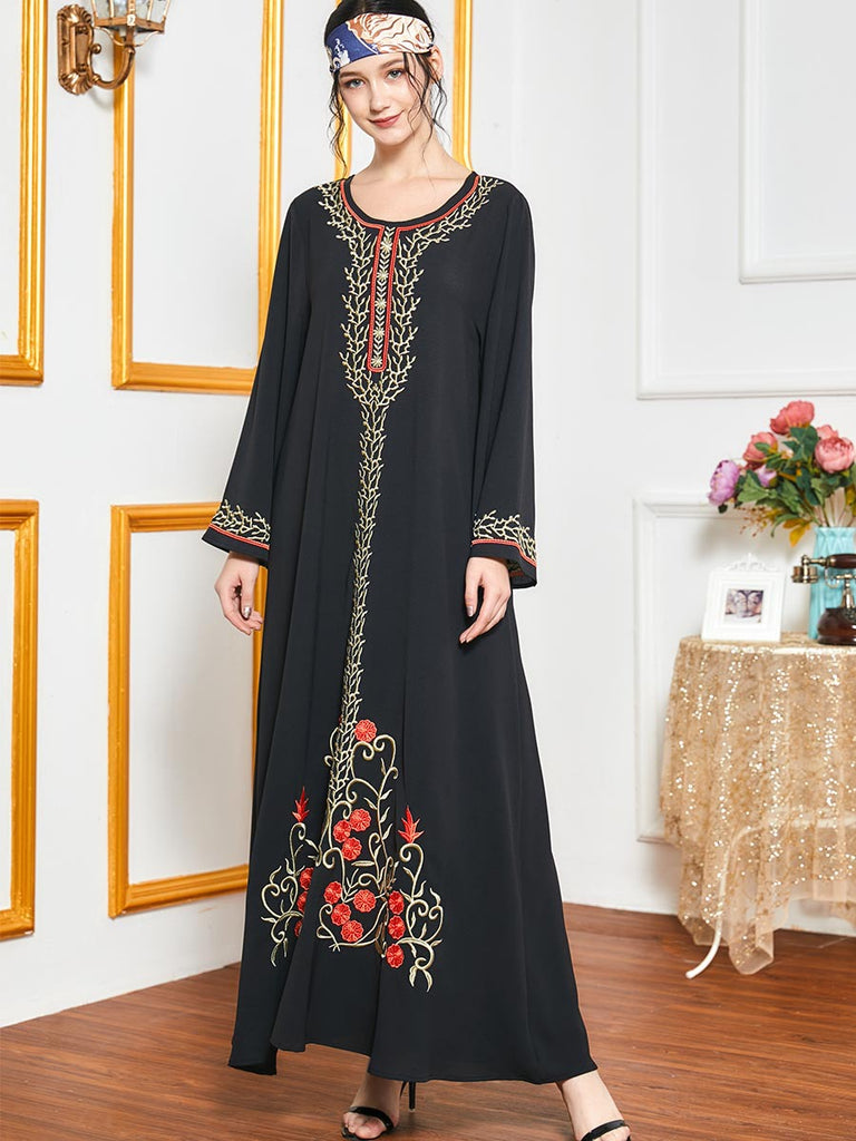 Nimerah Plus Size Black Ethnic Embroidery Jubah