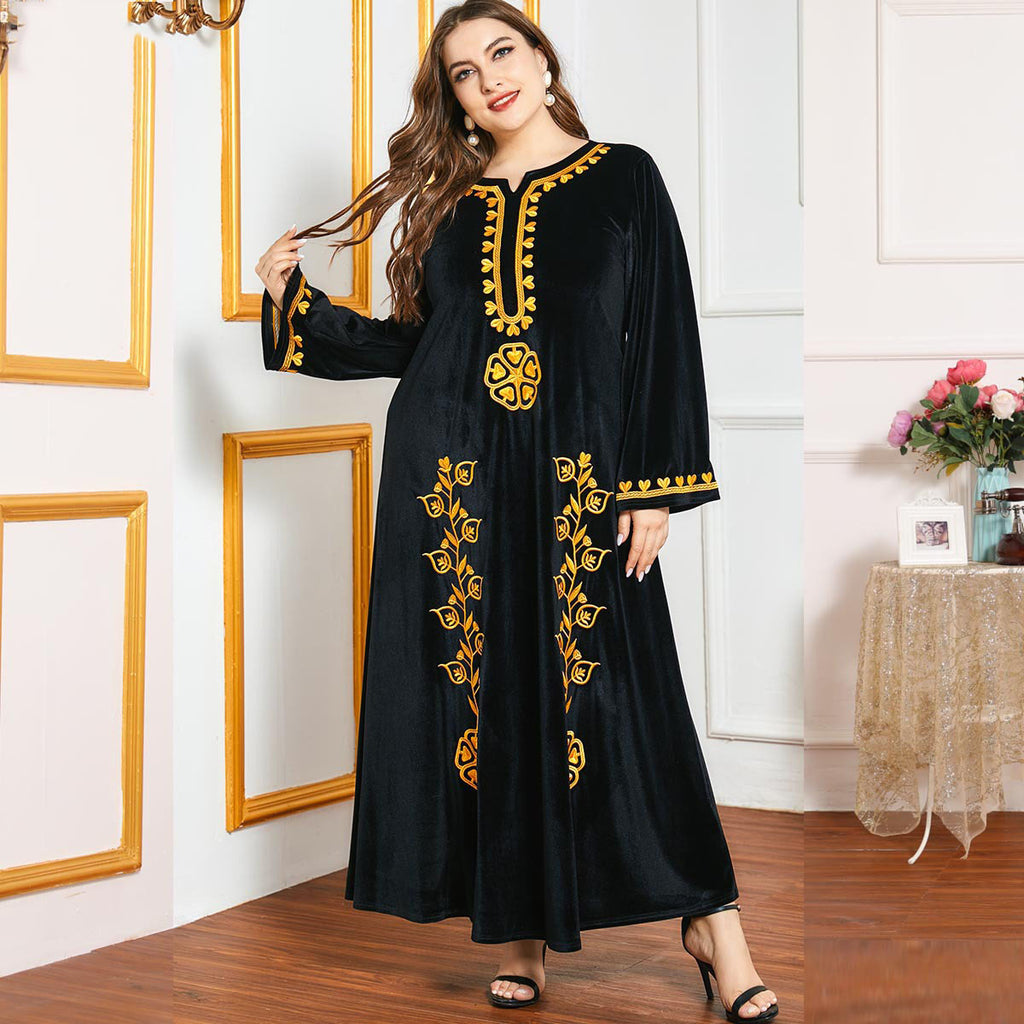 Omera Plus Size Black Velvet Formal Jubah