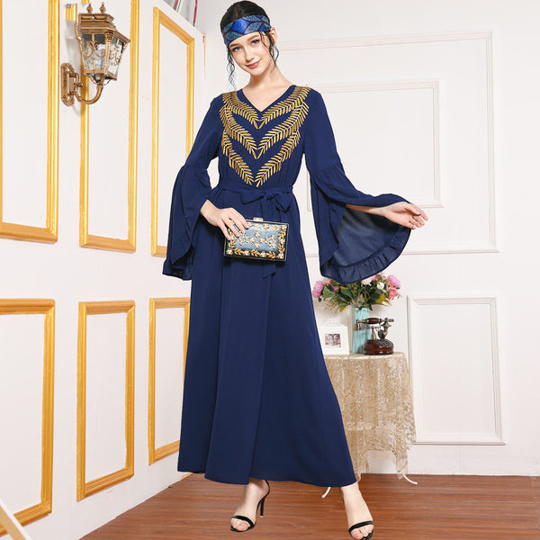 Rabia Plus Size Gold Embroidery Occasion Muslimah Dress
