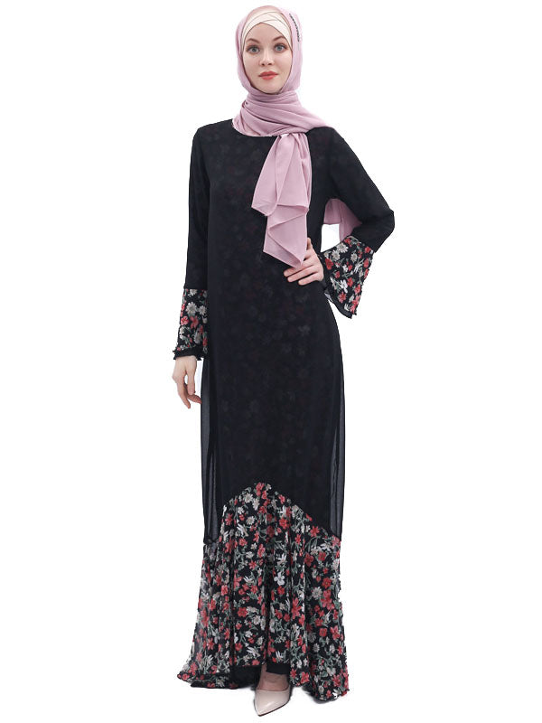 Muskan Plus Size Abaya Jubah 2 Way Wear Floral Print Mermaid Hem Long Sleeve Abaya Jubah - Plus Size Hijab Muslim Fashion Abaya Jubah Dresses Singapore Malaysia Brunei Online