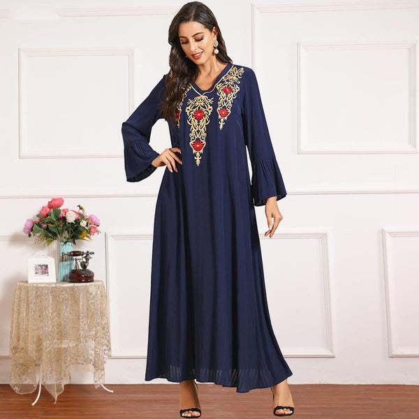 Ramidha Plus Size Blue Embroidery Abaya