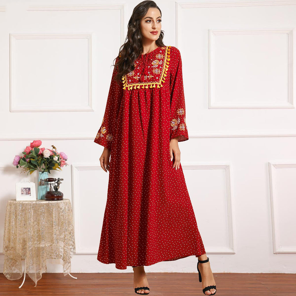 Ramisa Plus Size Polka Dots Red Abaya