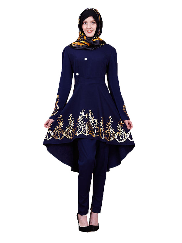 Khidrah Plus Size Muslim Blouse Longer Back Gold Long Sleeve Blouse (Blue, Brown, Black) - Plus Size Hijab Muslim Fashion Abaya Jubah Dresses Singapore Malaysia Brunei Online