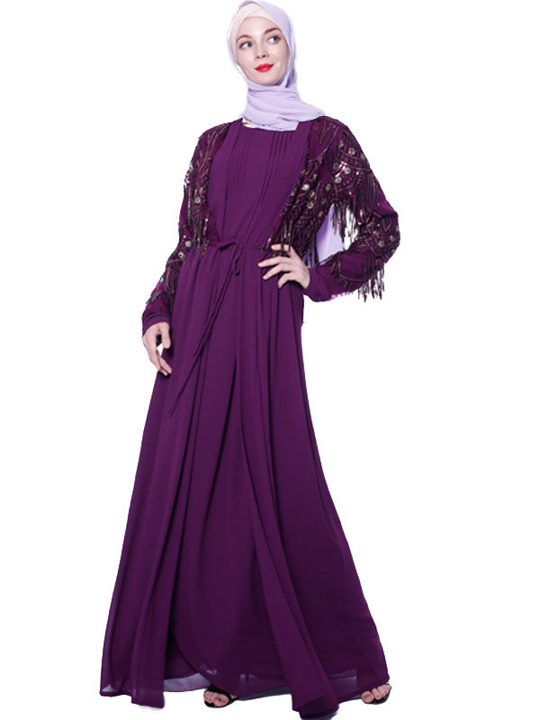 Musta'eenah Plus Size Open Kimono Jacket With Sequin Tassels (Purple, Green, Black-Blue) - Plus Size Hijab Muslim Fashion Abaya Jubah Dresses Singapore Malaysia Brunei Online