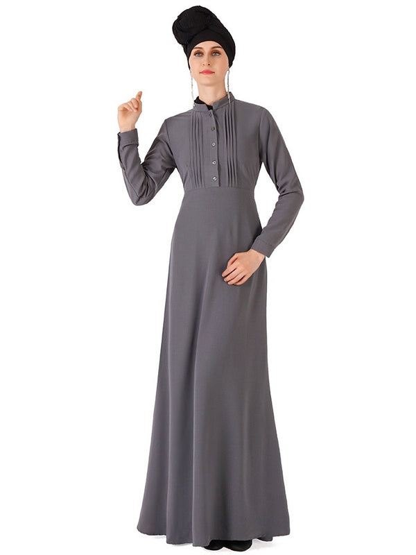 Ni'ja Plus Size Abaya Mandarin Collar (Black, Grey, Khaki, Red Bean, Dark Blue, Dark Red)