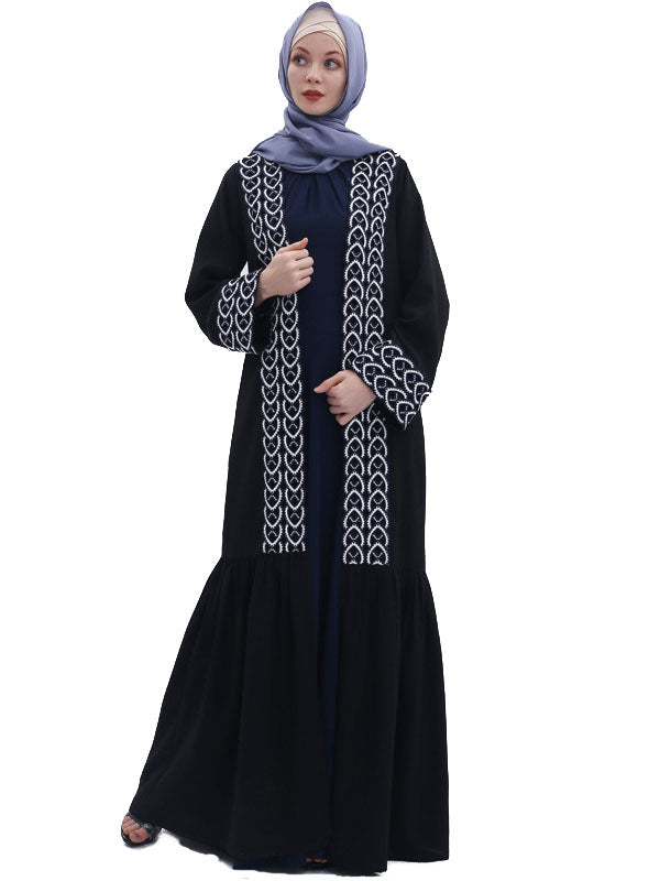Mutahharah Plus Size Mermaid Lace Long Jacket (Black) - Plus Size Hijab Muslim Fashion Abaya Jubah Dresses Singapore Malaysia Brunei Online