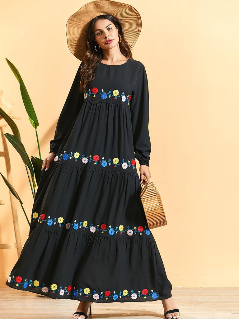 Nageen Plus Size Floral  Embroidery Balloon Sleeve Tier  Black Long Sleeve Abaya - Plus Size Hijab Muslim Fashion Abaya Jubah Dresses Singapore Malaysia Brunei Online